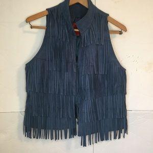 Blue faux suede fringe vest
